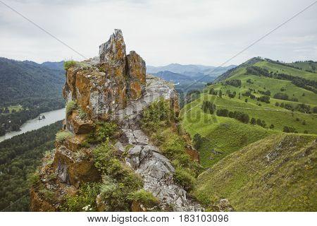 Devil's Finger Rock. Mountain Altai.