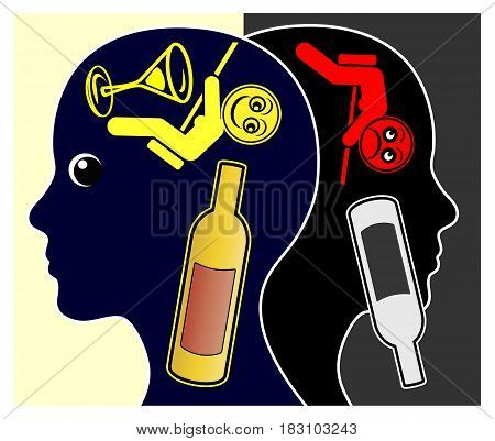 Alcohol and Depressions. Alcoholic woman getting depressed after getting sober