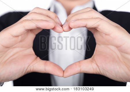 Business Woman Making Heart Shape With Her Hands