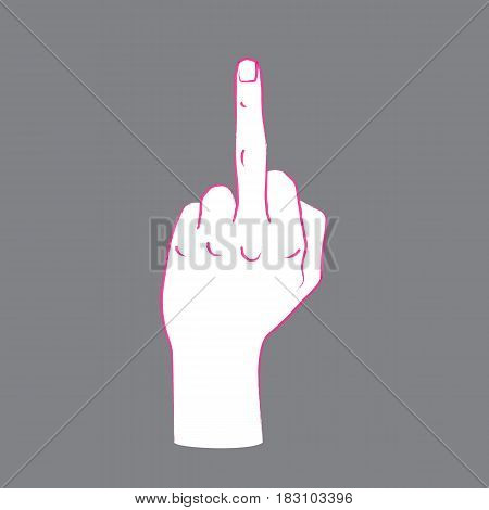 Gesture. Rude sign. Female hand with middle finger up. Vector illustration in sketch style isolated on a grey background. Making aggression signal by hand. Pink lines and white silhouette.