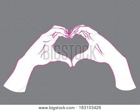 Gesture. Female hands in the form of heart. Vector illustration in sketch style isolated on a grey background. Making love sign by hands. Pink lines and white silhouette.