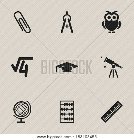 Set Of 9 Editable Graduation Icons. Includes Symbols Such As Staple, Night Fowl, Arithmetic And More. Can Be Used For Web, Mobile, UI And Infographic Design.