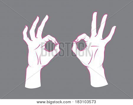 Gesture. Okey sign. Two female hands with index and thumb making circle, other fingers up. Vector illustration in sketch style isolated on a grey background. Ok. Pink lines and white silhouette.