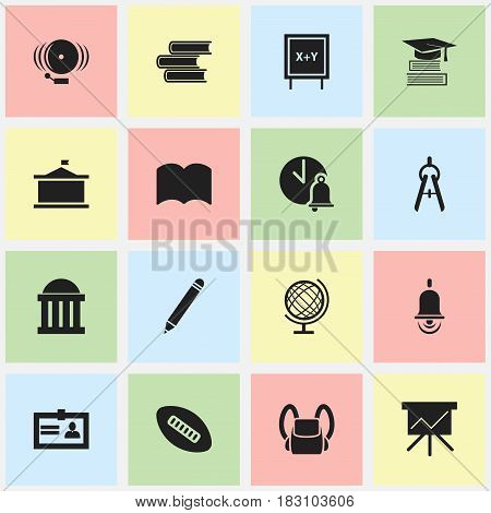 Set Of 16 Editable School Icons. Includes Symbols Such As Chart Board, Earth Planet, Blackboard And More. Can Be Used For Web, Mobile, UI And Infographic Design.