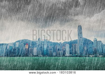 Victoria Harbour With Falling Rain, Hong Kong