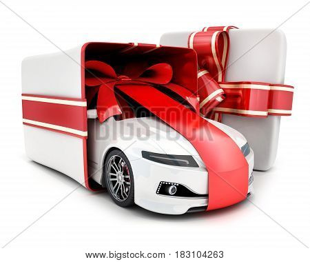 Car in box and ribbon gift on white background. 3d illustration