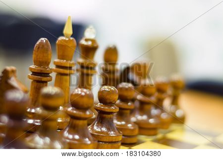 Chess tournament part of the championship on intelligence competition Board game closeup