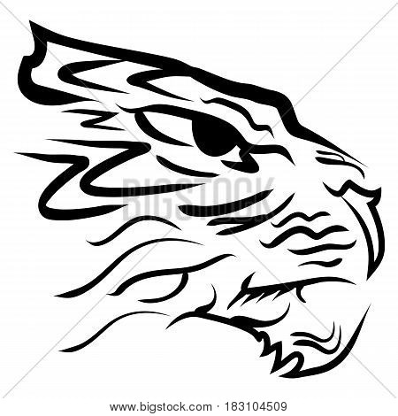 The stylized image of a tiger head. Vector stylized face of ink sketch chinese tiger. Tiger tribal tattoo Vector illustration.