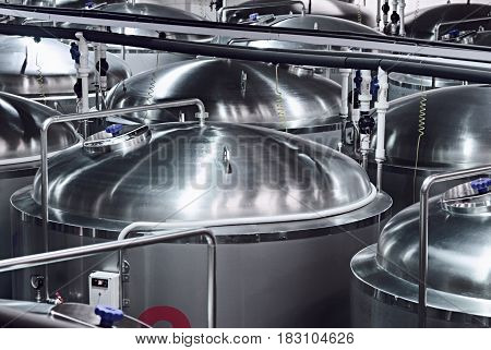 Metal Tanks for beer storage. Modern Brewing Production.
