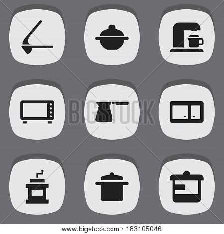 Set Of 9 Editable Meal Icons. Includes Symbols Such As Coffee Pot, Utensil, Cookware And More. Can Be Used For Web, Mobile, UI And Infographic Design.
