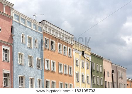 Renovated historic houses in the town of Muehldorf Bavaria Germany