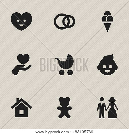 Set Of 9 Editable Kin Icons. Includes Symbols Such As Cold Dessert, Married, Home And More. Can Be Used For Web, Mobile, UI And Infographic Design.