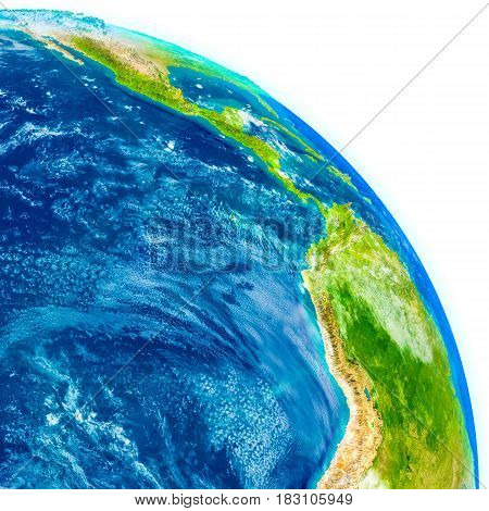Eastern Pacific On Physical Globe