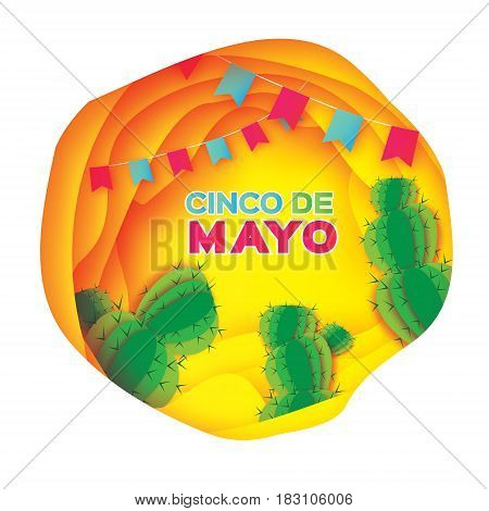 Yellow Happy Cinco de Mayo Greeting card. Origami Mexican succulents, flags. Mexico, Carnival. Paper cut Desert Cave Landscape. Cactus. Vector illustration.
