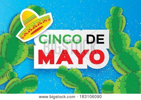 Happy Cinco de Mayo Greeting card. Origami Mexican sombrero hat, succulents. Mexico, Carnival. Blue background with paper cut cactus. text. Vector illustration.