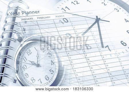 Clocks, year planner and calendar