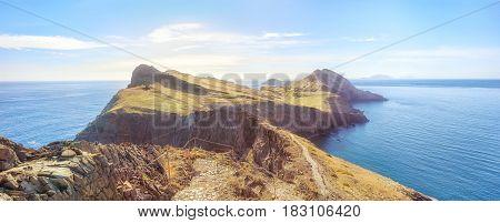 tracking to Ponta de Sao Lourenco. Amazing cliff view panorama, Madeira island, Portugal