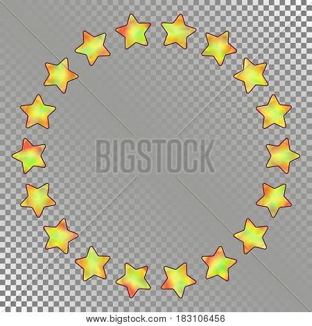 Abstract Round Frame of Stars with Holographic Effect. Isolated Asterisks in form Circle on Transparent Background.