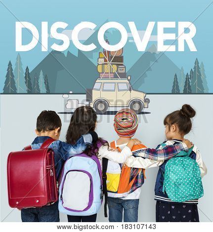 Children with illustration of discovery journey road trip traveling