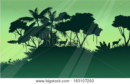 Silhouette of tree on the jungle scenery vector art