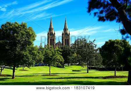St Peters Cathedral Taken From The North Parklands, Adelaide South Australia.