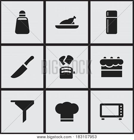 Set Of 9 Editable Food Icons. Includes Symbols Such As Cook Cap, Oven, Paprika And More. Can Be Used For Web, Mobile, UI And Infographic Design.