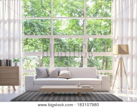 Modern white living room 3d rendering image.There are large windows overlooking nature and forest