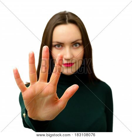 Girl Holding Hand Like Sign No. Negation, Discrimination, Violence Concept. Stop Symbol.