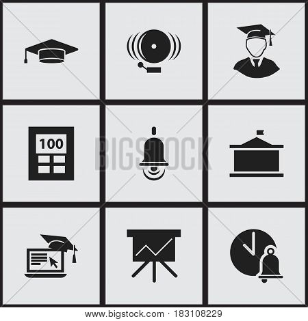 Set Of 9 Editable Education Icons. Includes Symbols Such As Distance Learning, Chart Board, School Bell And More. Can Be Used For Web, Mobile, UI And Infographic Design.