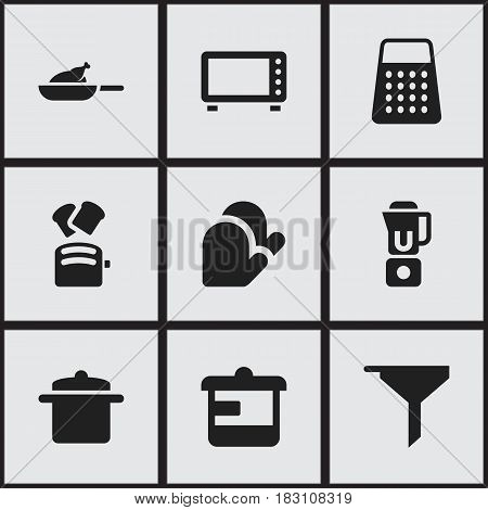 Set Of 9 Editable Meal Icons. Includes Symbols Such As Shredder, Slice Bread, Cookware And More. Can Be Used For Web, Mobile, UI And Infographic Design.