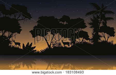 Beauty scenery with jungle silhouettes vector illustration