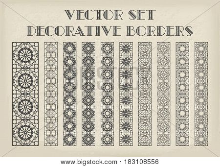 Design elements and page decoration. Vector set of borders on vintage background