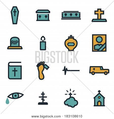 Vector flat funeral icons set on white background