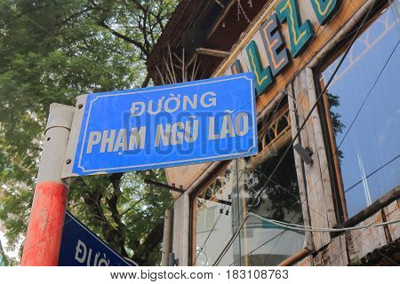 HO CHI MINH CITY VIETNAM - NOVEMBER 26, 2016: Pham Ngu Lao street. Pham Ngu Lao street is a famous backpacker street.