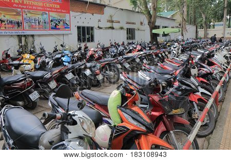 HO CHI MINH CITY VIETNAM - NOVEMBER 26, 2016: Motorbike parking in downtown Ho Chi Minh City.