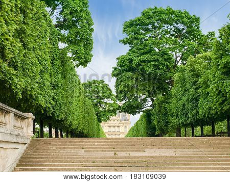 Terrace embankment of the River Seine beside to the Tuileries Garden with stairs on the foreground in Paris in the springtime