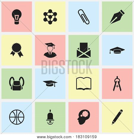 Set Of 16 Editable Science Icons. Includes Symbols Such As Staple, Graduate, Diplomaed Male And More. Can Be Used For Web, Mobile, UI And Infographic Design.