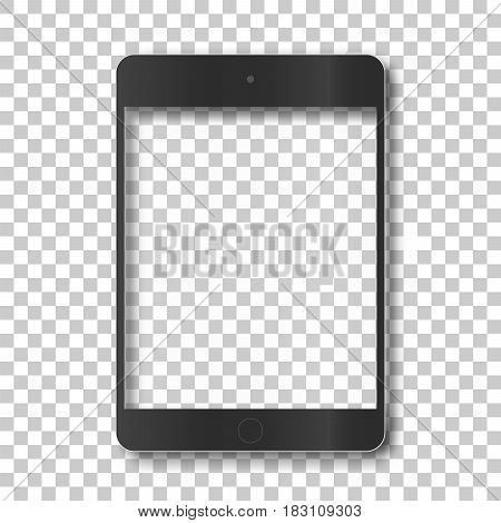 Touch tablet body without screen on transparent background. Template framework. Insert your picture. Vector illustration.