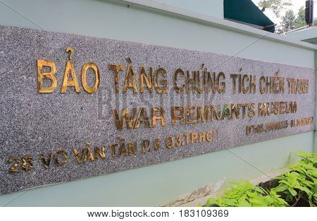 HO CHI MINH CITY VIETNAM - NOVEMBER 26, 2016: War Remnants Museum. War Remnants Museum is one of the most popular museums in Vietnam attracting 500000 visitors a year.