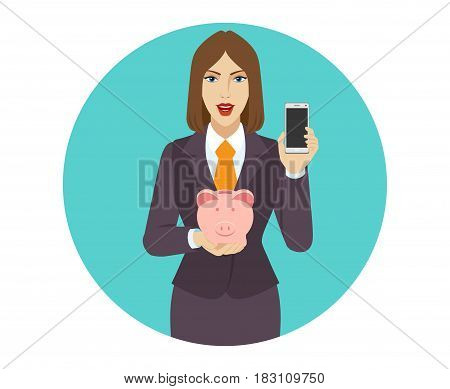 Businesswoman holding a piggy bank and mobile phone. Portrait of businesswoman character in a flat style. Vector illustration.