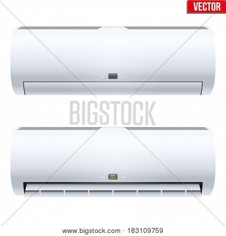 Set of Classic Split air conditioner house system. Switch on. Indoor unit. Sample White color. Vector Illustration on isolated white background