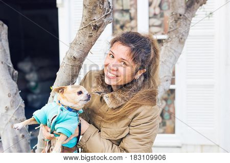 Girl or woman holding cute chihuahua dog outdoors - people pets concept.