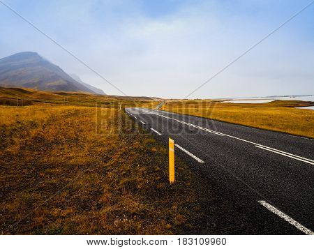 The long countryside road in early autumn to Reykholt Iceland