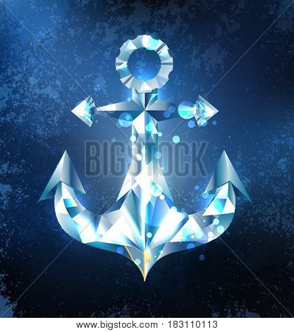 Anchor from a sparkling, blue, transparent ice on a dark blue background. The Northern Fleet. Design of ice.