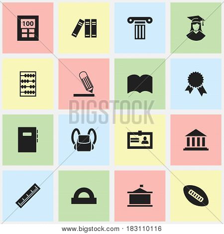 Set Of 16 Editable Science Icons. Includes Symbols Such As Bookshelf, Certification, Writing And More. Can Be Used For Web, Mobile, UI And Infographic Design.