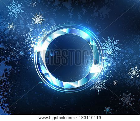 Round, faceted banner of blue sparkling ice blue cold background with snowflakes. Ice design.