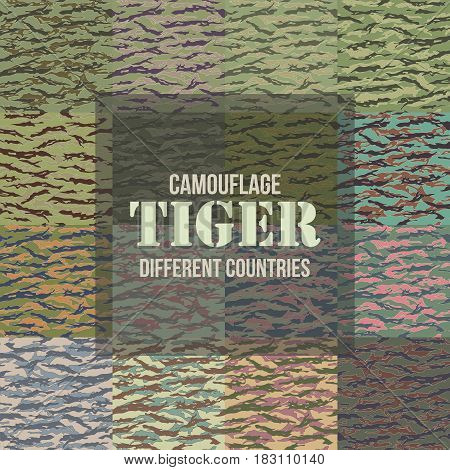 Tiger stripe Camouflage seamless patterns of different countries. Vector Illustration.