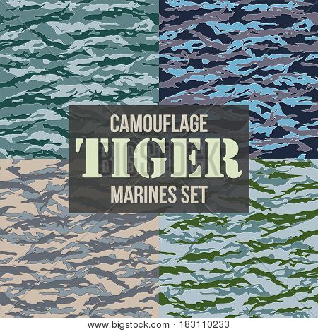 Tiger stripe Camouflage seamless patterns of marines forces. Vector Illustration.