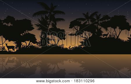 Silhouette jungle with lake beauty landscape vector art