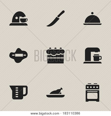 Set Of 9 Editable Meal Icons. Includes Symbols Such As Stove, Drink Maker, Salver And More. Can Be Used For Web, Mobile, UI And Infographic Design.